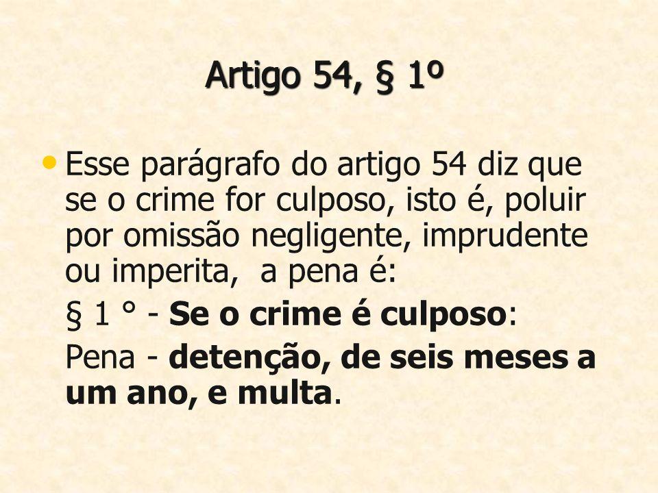 Artigo 54, § 1º Esse parágrafo do artigo 54 diz que se o crime for culposo, isto é, poluir por omissão negligente, imprudente ou imperita, a pena é: