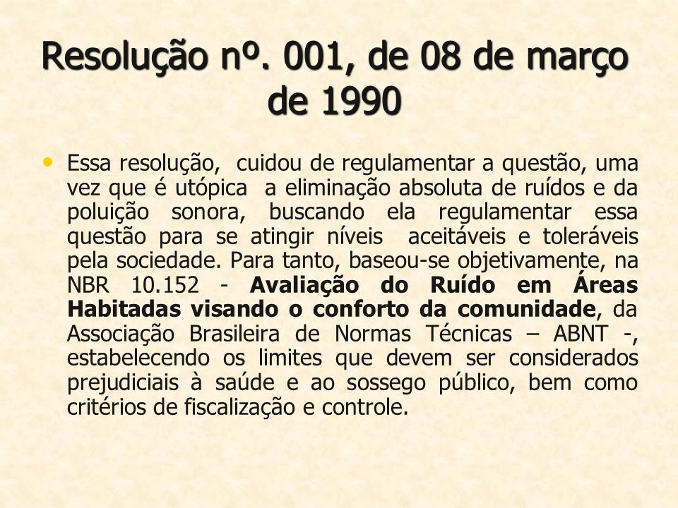 Resolução nº. 001, de 08 de março de 1990