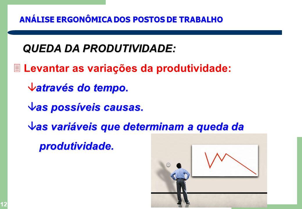 QUEDA DA PRODUTIVIDADE: Levantar as variações da produtividade: