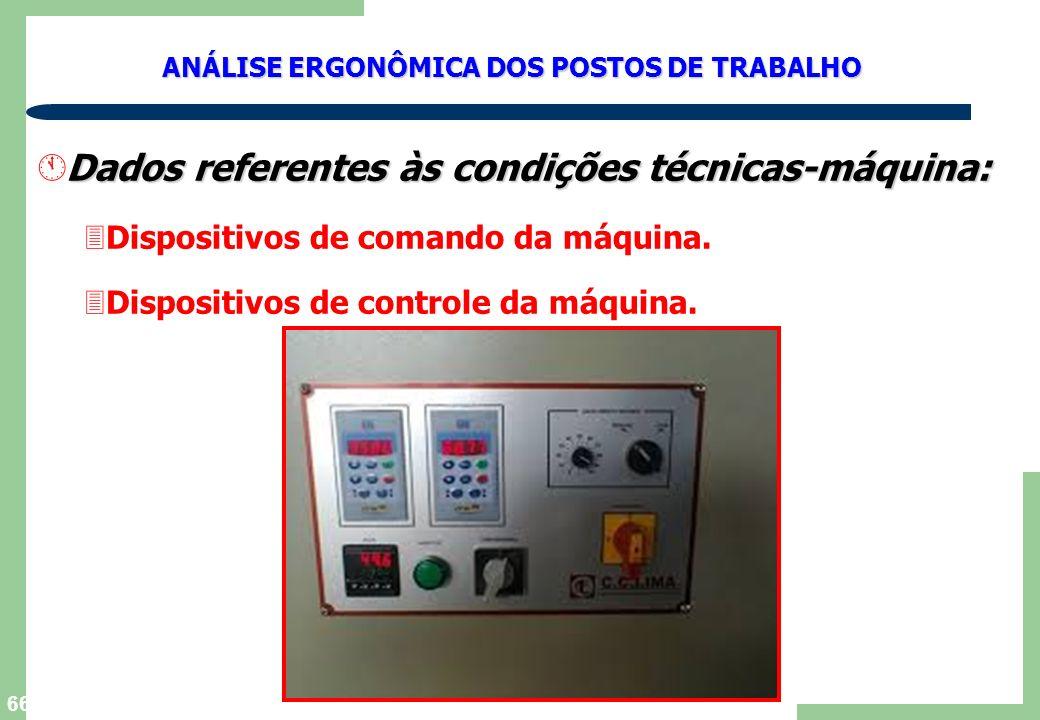 Dados referentes às condições técnicas-máquina: