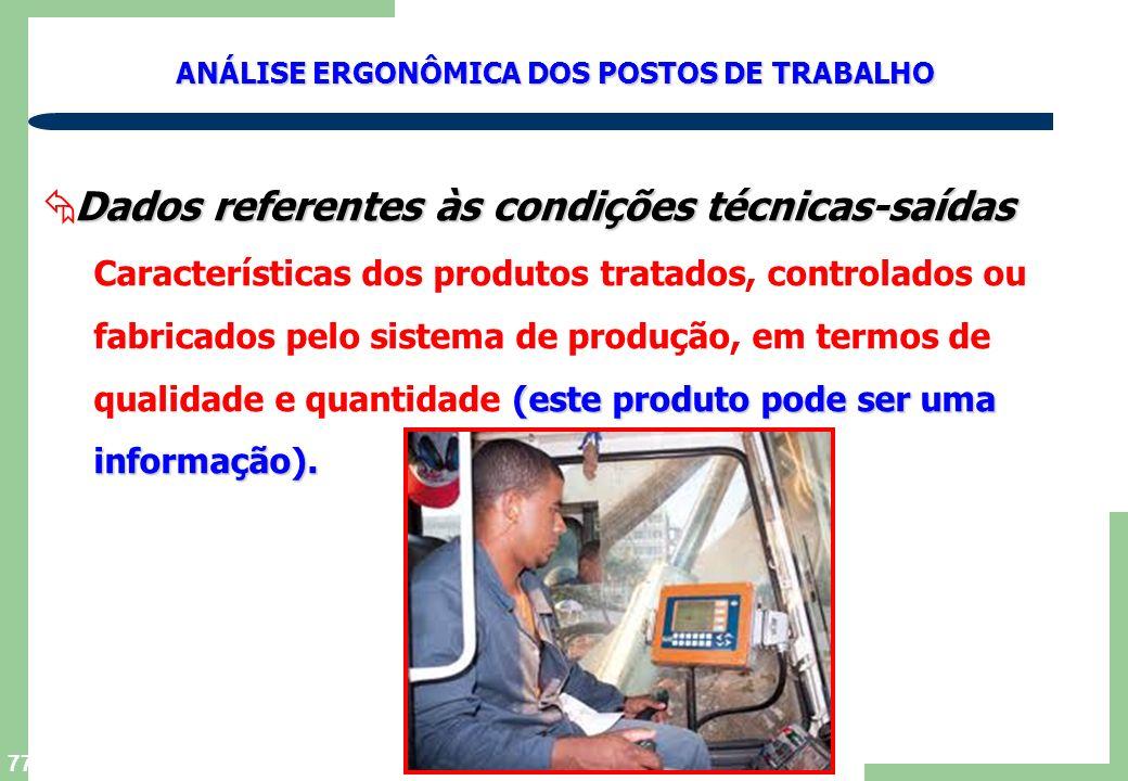 Dados referentes às condições técnicas-saídas