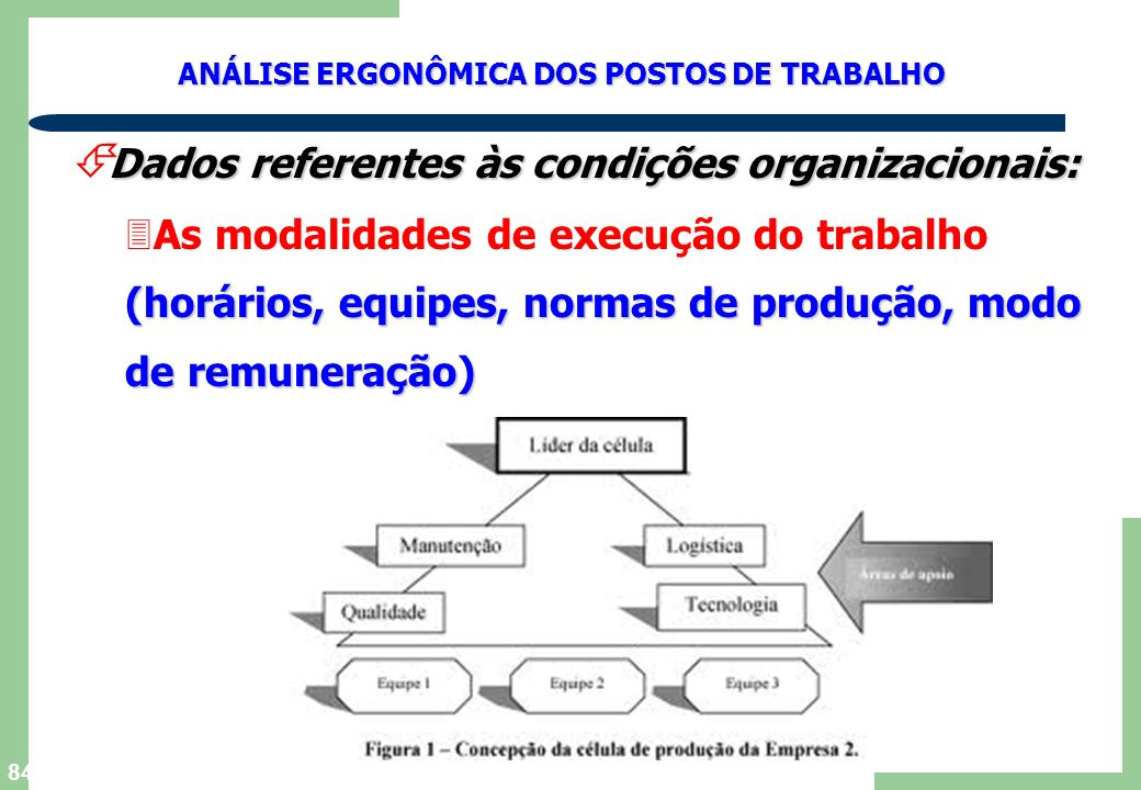 Dados referentes às condições organizacionais: