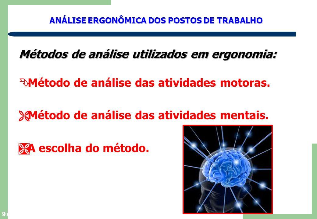 Métodos de análise utilizados em ergonomia: