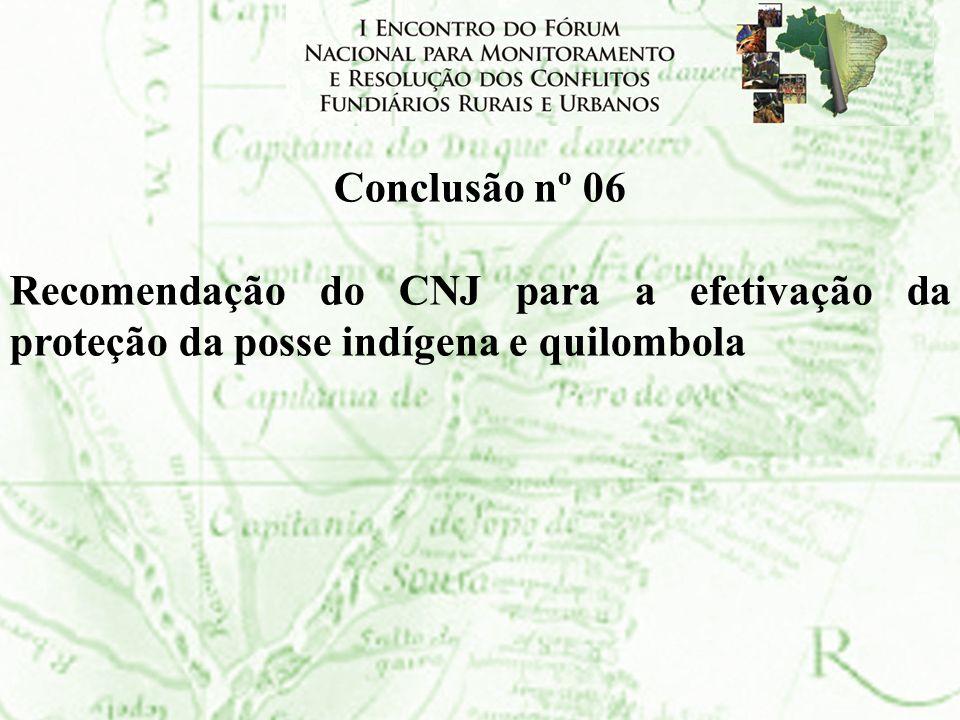 Conclusão nº 06 Recomendação do CNJ para a efetivação da proteção da posse indígena e quilombola
