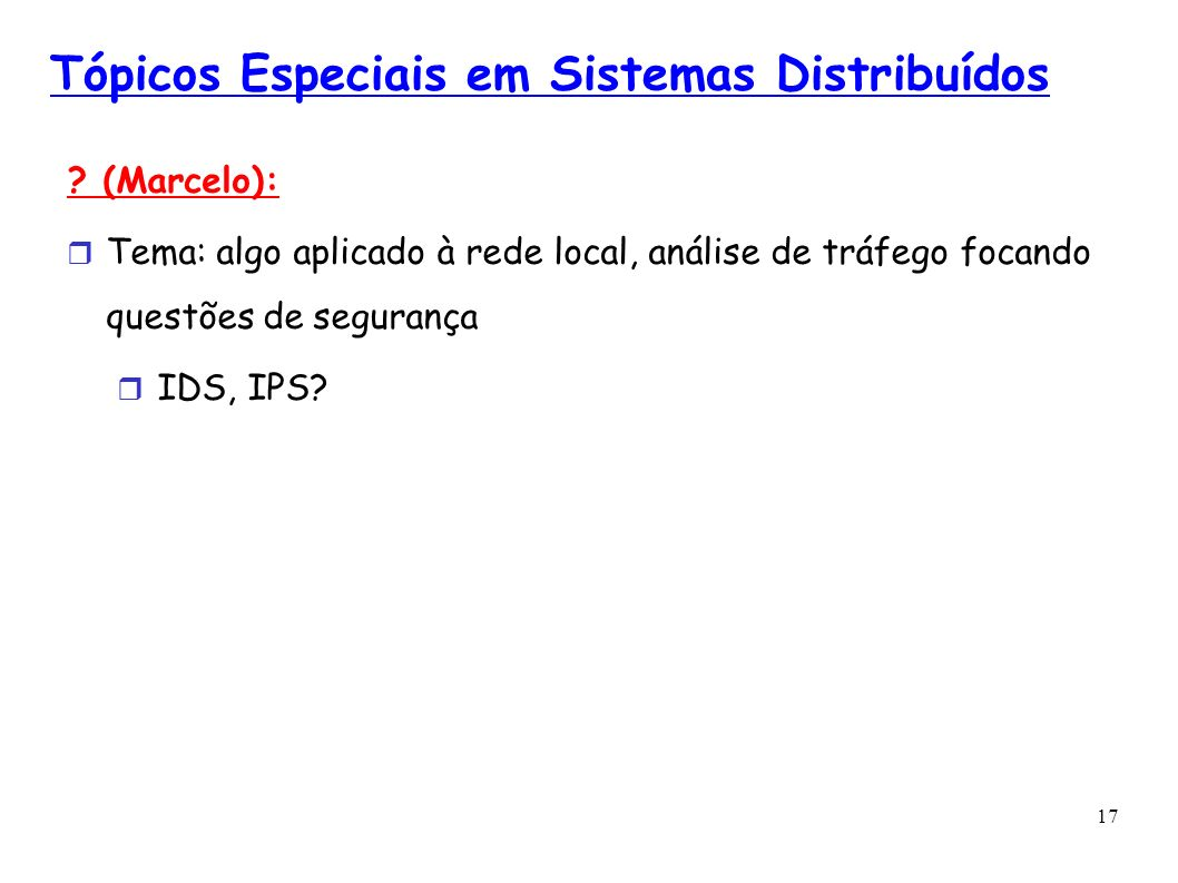 Tópicos Especiais em Sistemas Distribuídos