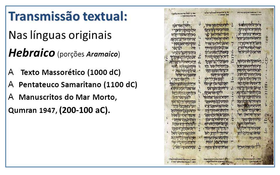 Transmissão textual: Nas línguas originais Hebraico (porções Aramaico)
