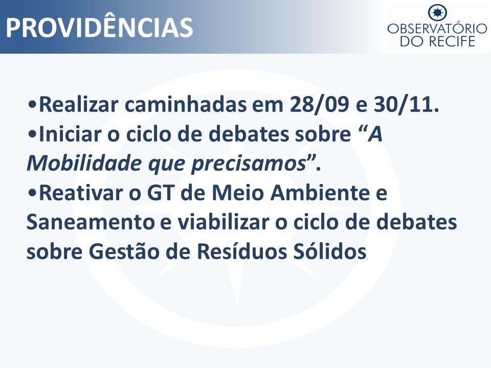 PROVIDÊNCIAS Realizar caminhadas em 28/09 e 30/11.