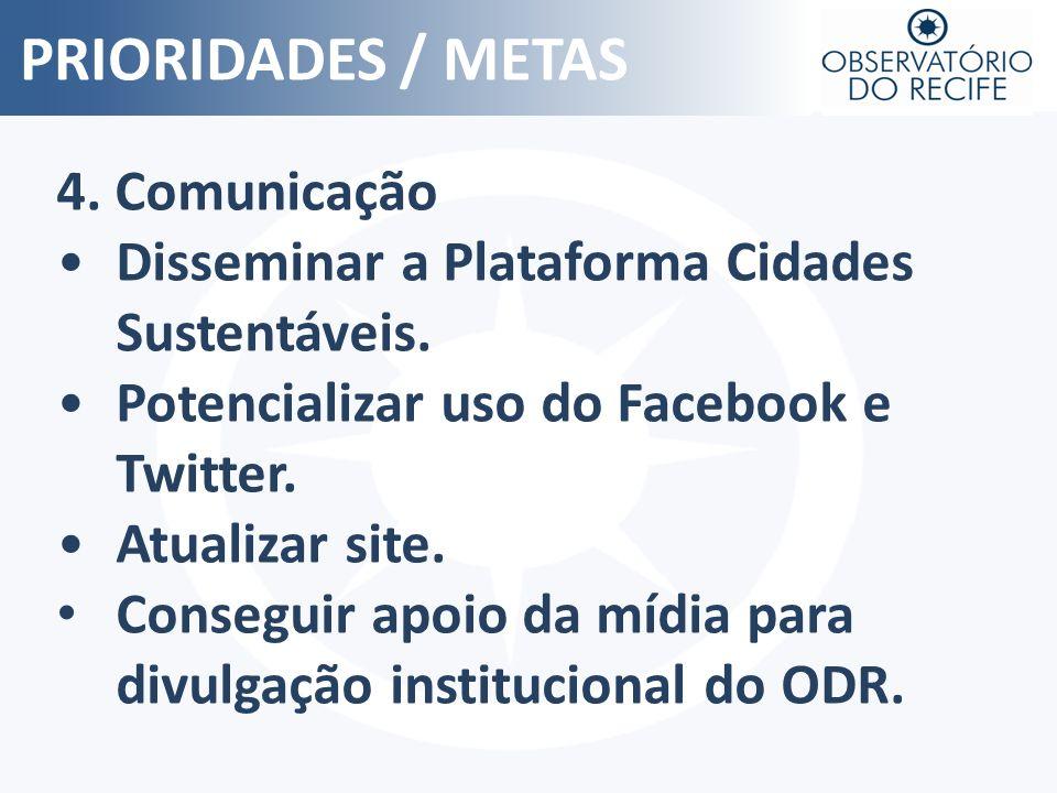 PRIORIDADES / METAS4. Comunicação. Disseminar a Plataforma Cidades Sustentáveis. Potencializar uso do Facebook e Twitter.