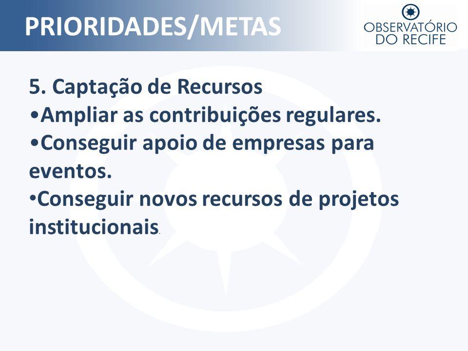 PRIORIDADES/METAS 5. Captação de Recursos