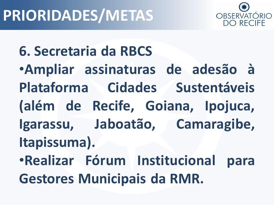 PRIORIDADES/METAS 6. Secretaria da RBCS