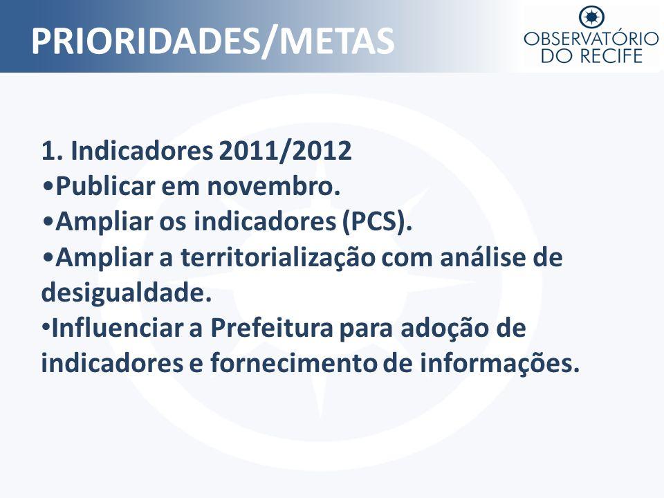 PRIORIDADES/METAS 1. Indicadores 2011/2012 Publicar em novembro.