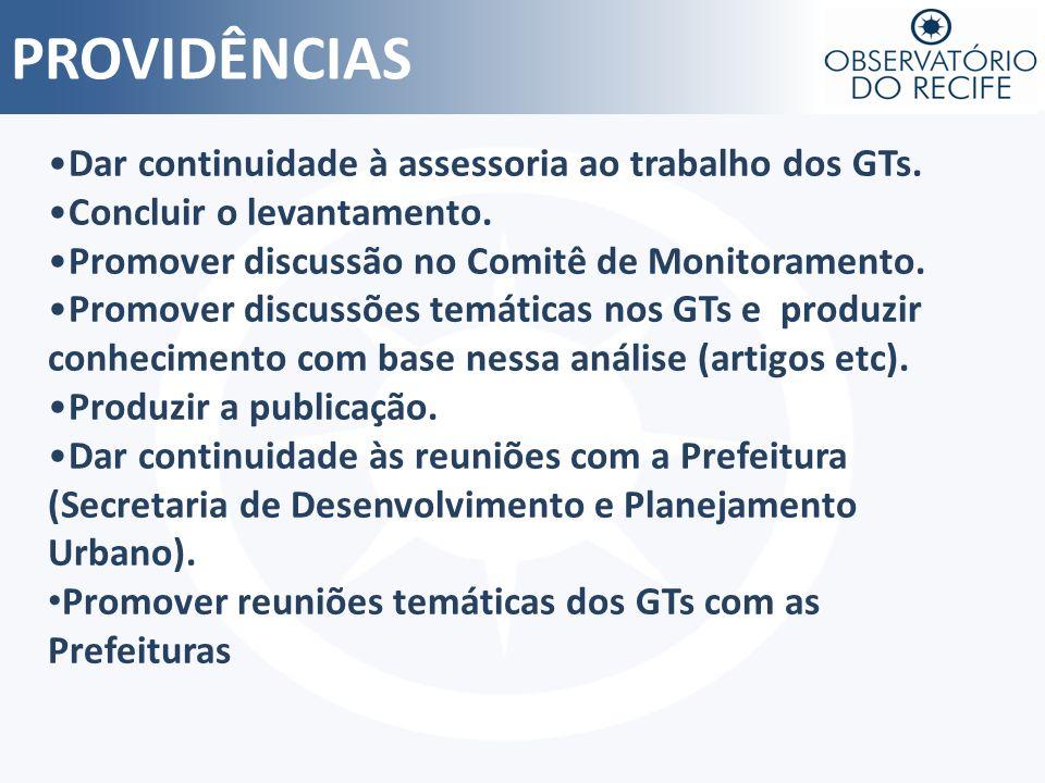 PROVIDÊNCIAS Dar continuidade à assessoria ao trabalho dos GTs.