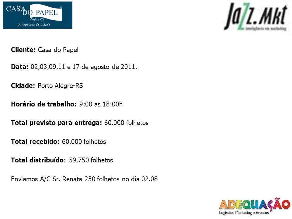 Cliente: Casa do Papel Data: 02,03,09,11 e 17 de agosto de 2011. Cidade: Porto Alegre-RS. Horário de trabalho: 9:00 as 18:00h.