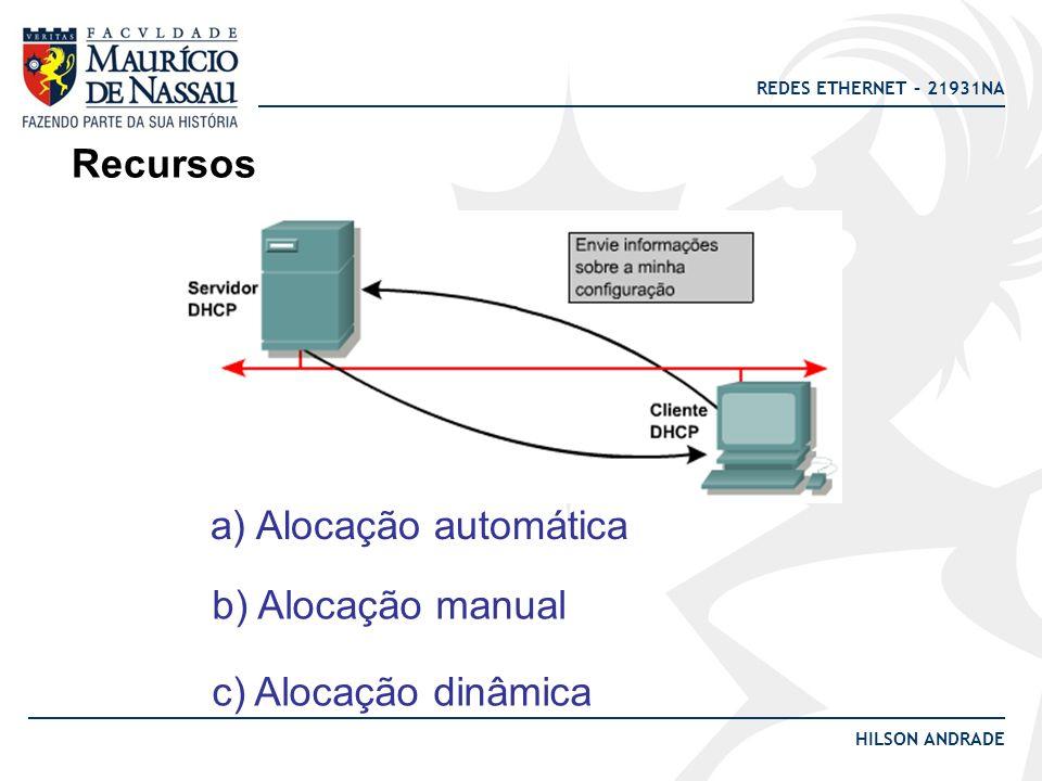 Recursos a) Alocação automática b) Alocação manual c) Alocação dinâmica