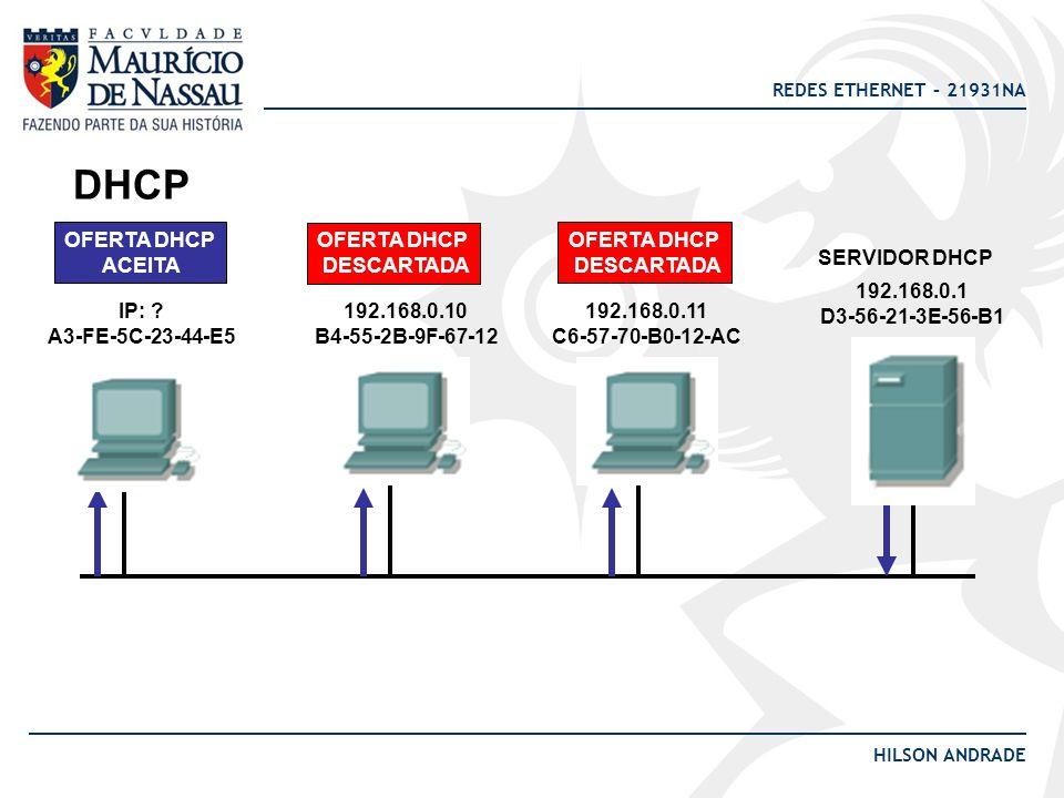 DHCP OFERTA DHCP ACEITA OFERTA DHCP DESCARTADA OFERTA DHCP DESCARTADA