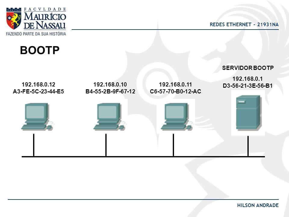 BOOTP SERVIDOR BOOTP 192.168.0.1 D3-56-21-3E-56-B1 192.168.0.12