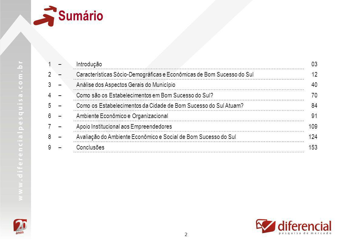 Sumário 1 – Introdução. 03. 2 – Características Sócio-Demográficas e Econômicas de Bom Sucesso do Sul.