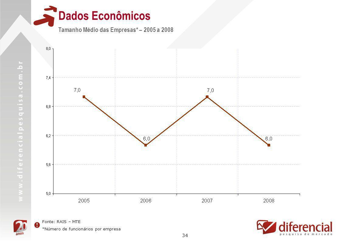 Dados Econômicos Tamanho Médio das Empresas* – 2005 a 2008