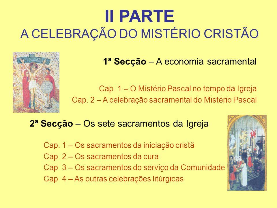 II PARTE A CELEBRAÇÃO DO MISTÉRIO CRISTÃO