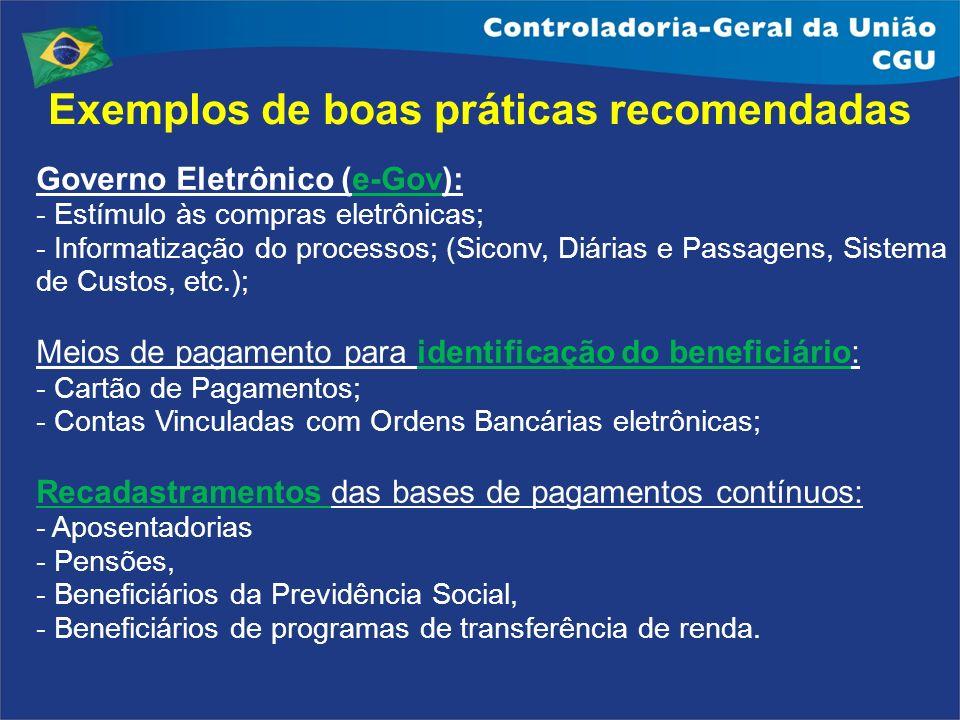 Exemplos de boas práticas recomendadas