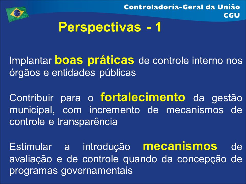 Perspectivas - 1Implantar boas práticas de controle interno nos órgãos e entidades públicas.