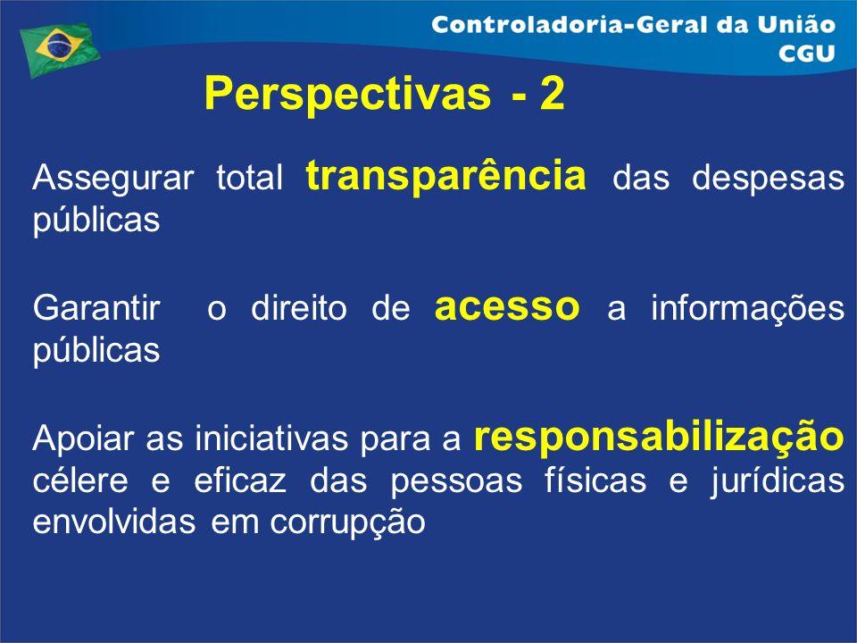 Perspectivas - 2 Assegurar total transparência das despesas públicas