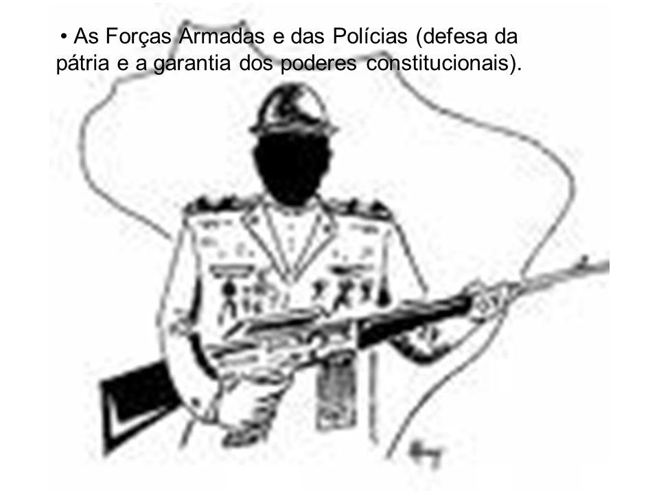 As Forças Armadas e das Polícias (defesa da pátria e a garantia dos poderes constitucionais).