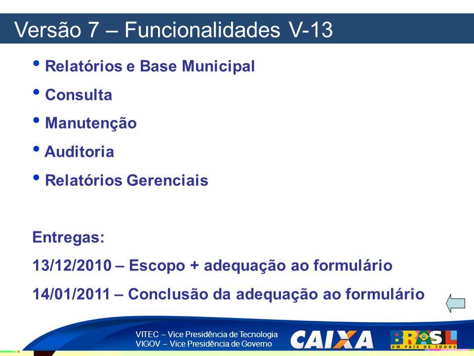 Versão 7 – Funcionalidades V-13
