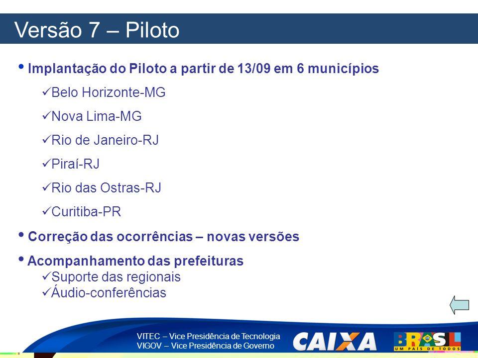 Versão 7 – Piloto Implantação do Piloto a partir de 13/09 em 6 municípios. Belo Horizonte-MG. Nova Lima-MG.