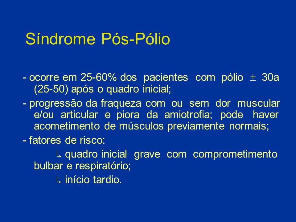 Síndrome Pós-Pólio- ocorre em 25-60% dos pacientes com pólio  30a (25-50) após o quadro inicial;