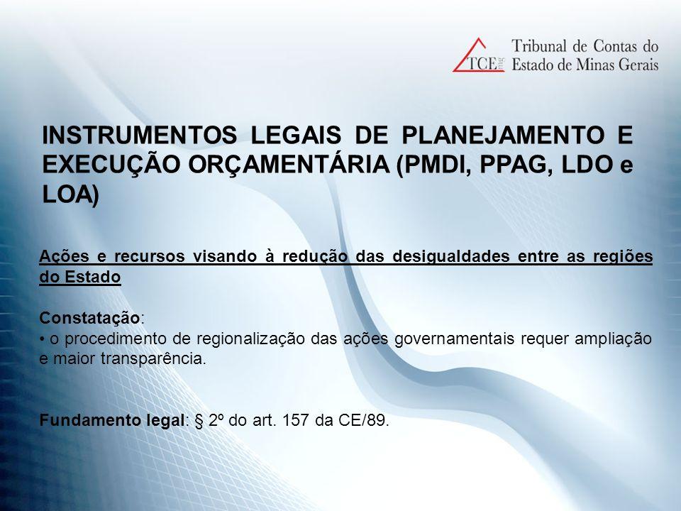 INSTRUMENTOS LEGAIS DE PLANEJAMENTO E EXECUÇÃO ORÇAMENTÁRIA (PMDI, PPAG, LDO e LOA)