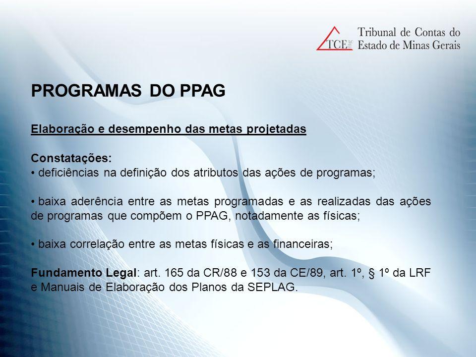 PROGRAMAS DO PPAG Elaboração e desempenho das metas projetadas