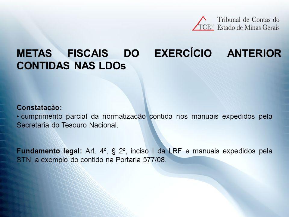 METAS FISCAIS DO EXERCÍCIO ANTERIOR CONTIDAS NAS LDOs