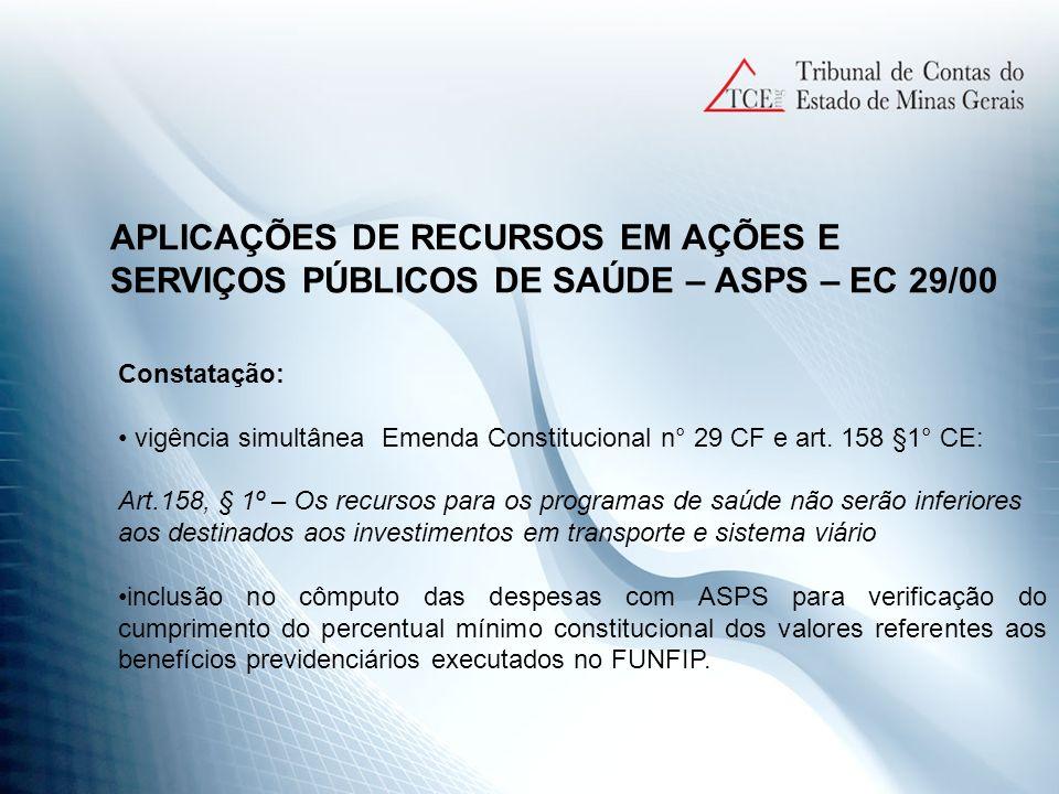 APLICAÇÕES DE RECURSOS EM AÇÕES E SERVIÇOS PÚBLICOS DE SAÚDE – ASPS – EC 29/00