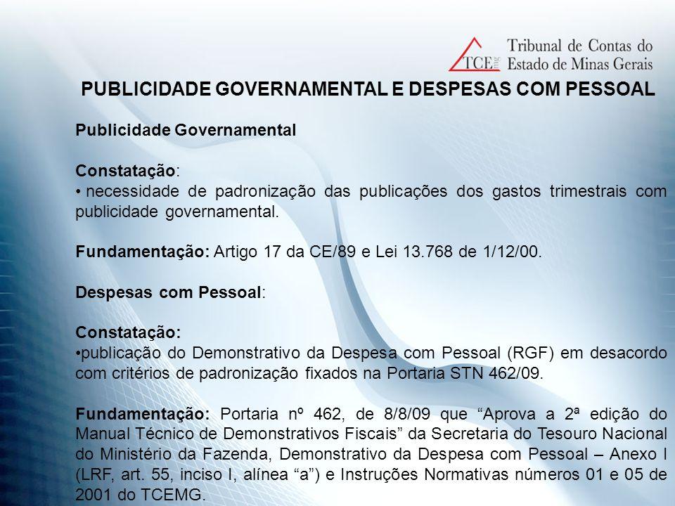 PUBLICIDADE GOVERNAMENTAL E DESPESAS COM PESSOAL