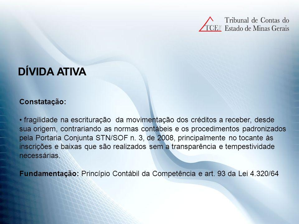 DÍVIDA ATIVA Constatação: