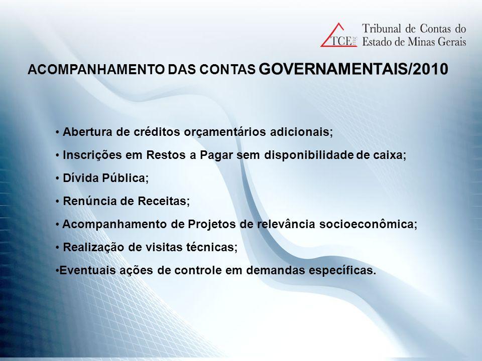 ACOMPANHAMENTO DAS CONTAS GOVERNAMENTAIS/2010
