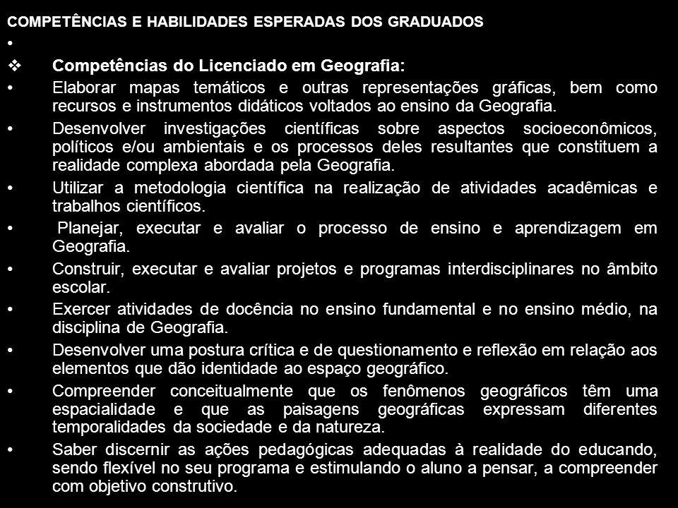 Competências do Licenciado em Geografia:
