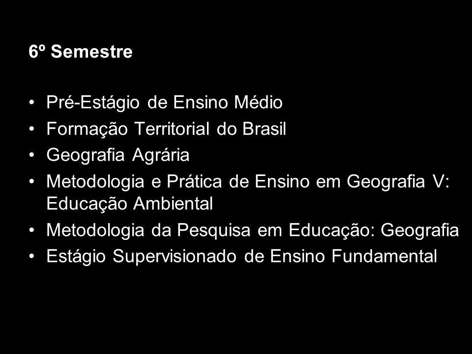 6º Semestre Pré-Estágio de Ensino Médio. Formação Territorial do Brasil. Geografia Agrária.