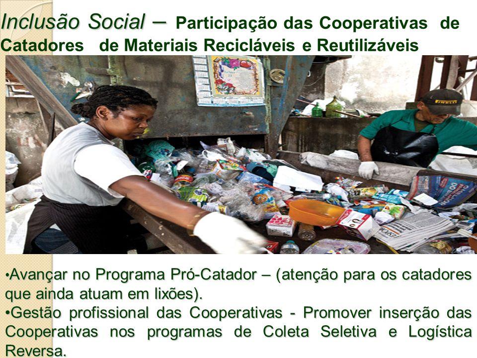 Inclusão Social – Participação das Cooperativas de Catadores de Materiais Recicláveis e Reutilizáveis