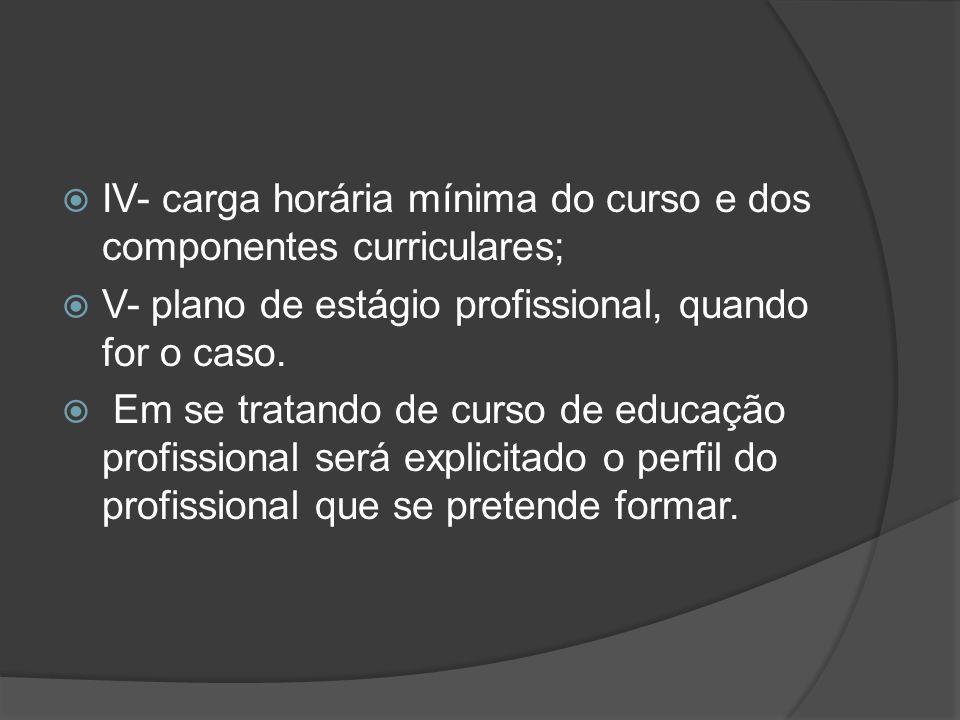 IV- carga horária mínima do curso e dos componentes curriculares;