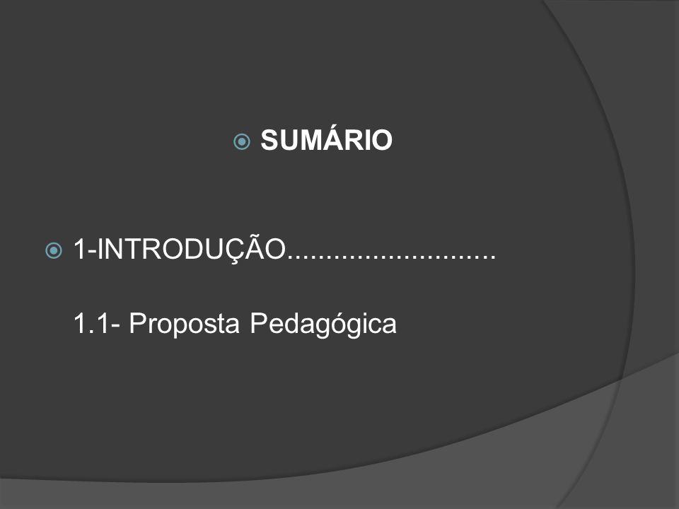 SUMÁRIO 1-INTRODUÇÃO........................... 1.1- Proposta Pedagógica