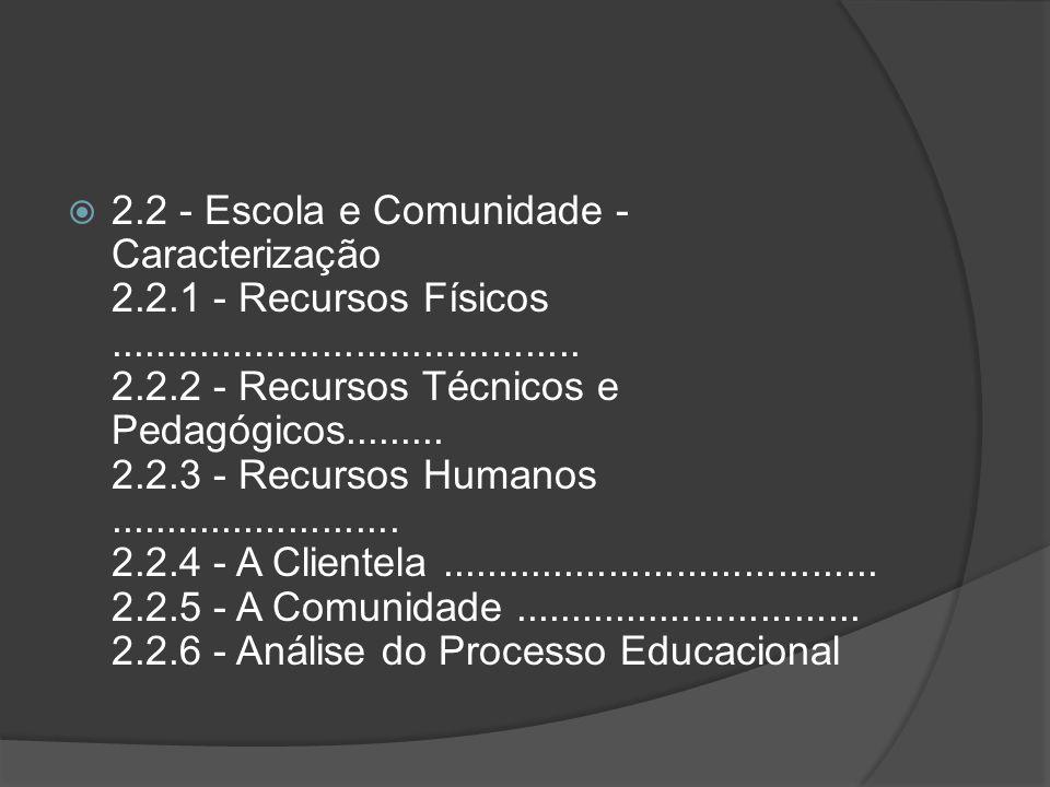 2. 2 - Escola e Comunidade - Caracterização 2. 2. 1 - Recursos Físicos