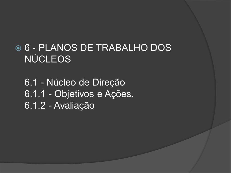 6 - PLANOS DE TRABALHO DOS NÚCLEOS 6. 1 - Núcleo de Direção 6. 1