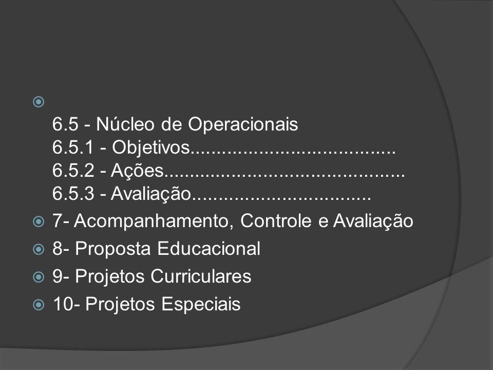 6. 5 - Núcleo de Operacionais 6. 5. 1 - Objetivos. 6. 5. 2 - Ações. 6