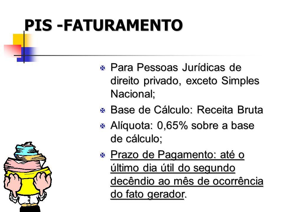 PIS -FATURAMENTO Para Pessoas Jurídicas de direito privado, exceto Simples Nacional; Base de Cálculo: Receita Bruta.