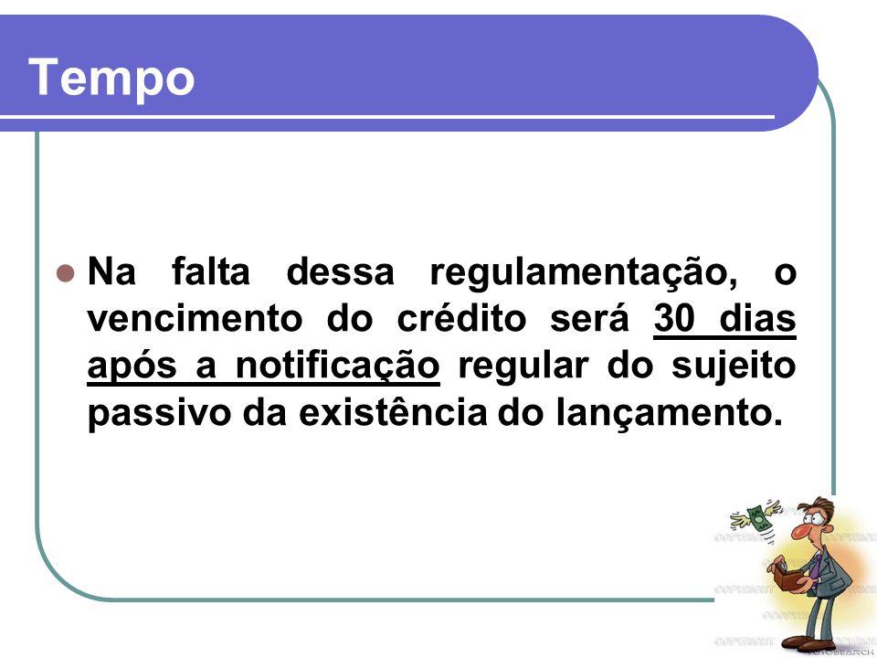 TempoNa falta dessa regulamentação, o vencimento do crédito será 30 dias após a notificação regular do sujeito passivo da existência do lançamento.