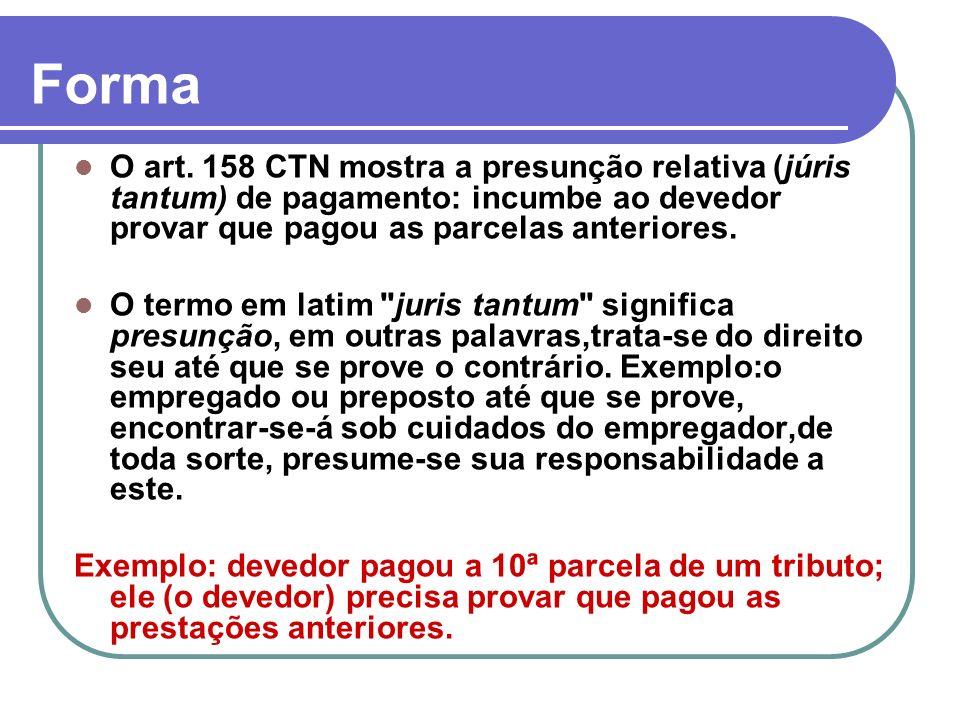 FormaO art. 158 CTN mostra a presunção relativa (júris tantum) de pagamento: incumbe ao devedor provar que pagou as parcelas anteriores.