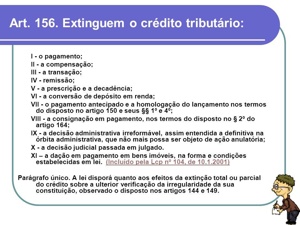 Art. 156. Extinguem o crédito tributário: