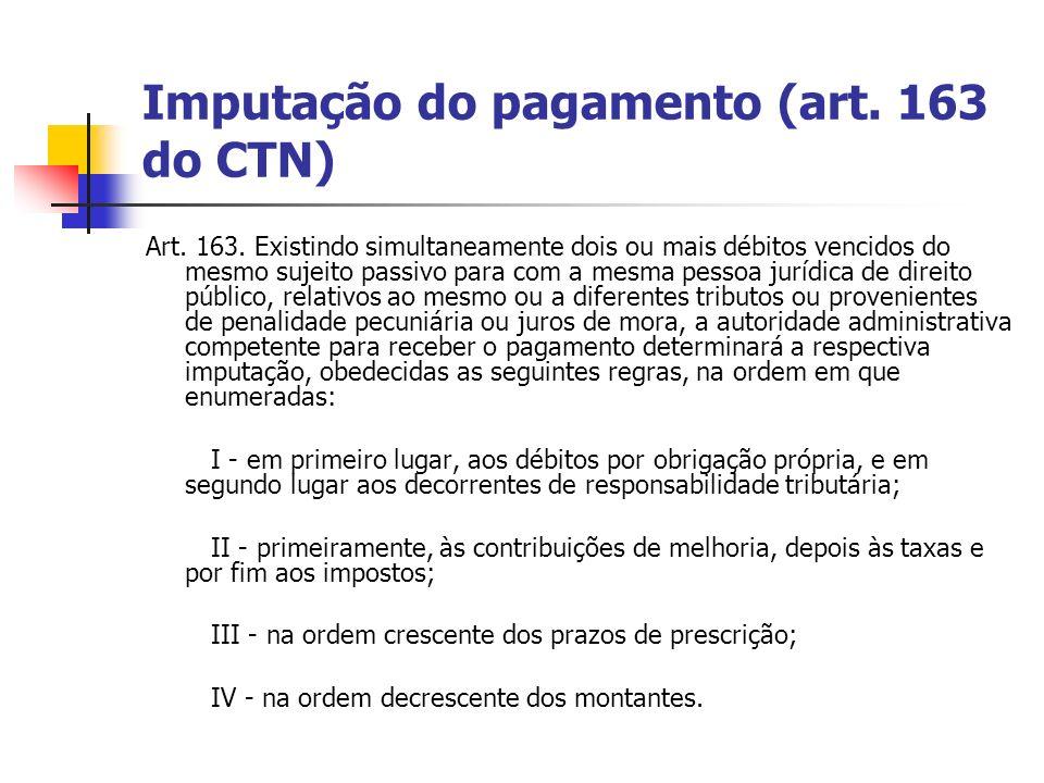 Imputação do pagamento (art. 163 do CTN)